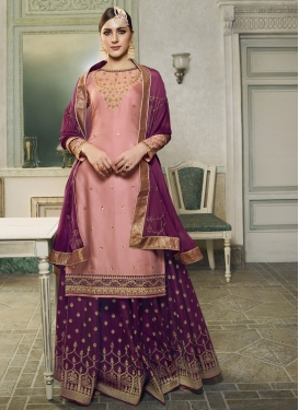 Embroidered Work Jacquard Silk Purple and Salmon Designer Kameez Style Lehenga Choli