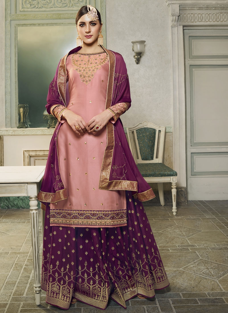 Embroidered Work Jacquard Silk Purple and Salmon Designer Kameez Style Lehenga Choli