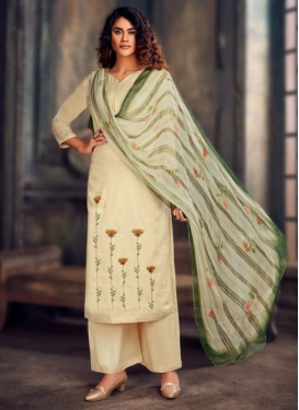 Embroidered Work Jam Silk Palazzo Designer Salwar Kameez
