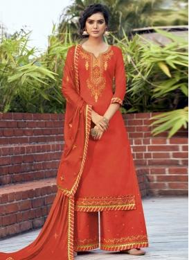 Embroidered Work Jam Silk Palazzo Style Pakistani Salwar Suit