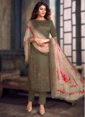 Embroidered Work Jam Silk Pant Style Straight Salwar Kameez