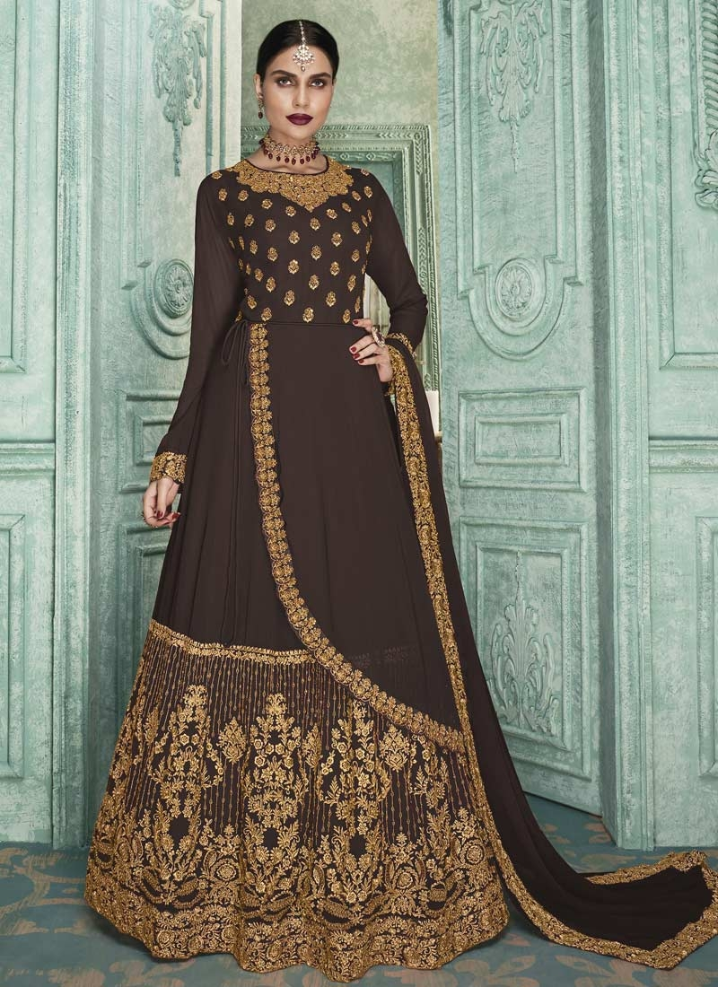 Embroidered Work Layered Designer Anarkali Suit