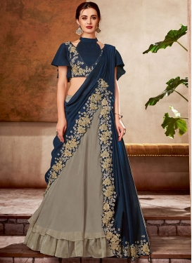 Embroidered Work Lehenga Style Saree For Festival