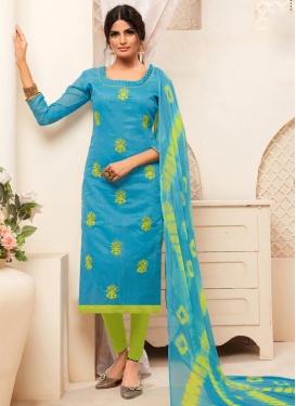 Embroidered Work Light Blue and Mint Green Trendy Straight Salwar Kameez
