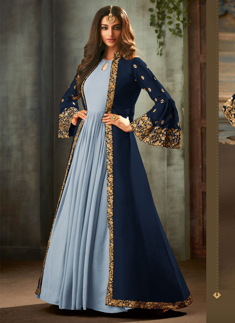 Embroidered Work Light Blue and Navy Blue Art Silk Jacket Style Long Length Suit