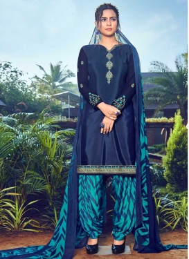 Embroidered Work Light Blue and Navy Blue Designer Semi Patiala Suit