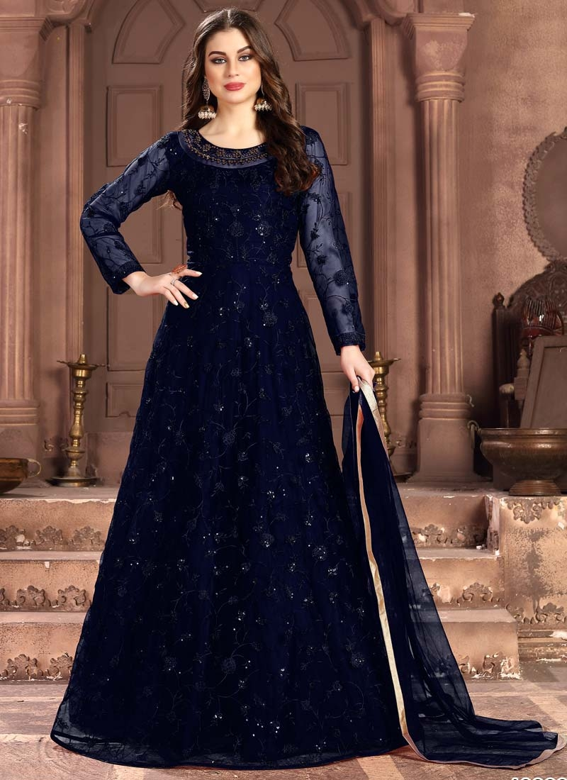 Embroidered Work Long Length Anarkali Suit