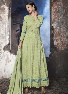 Embroidered Work Long Length Anarkali Suit For Festival