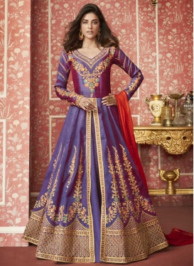 Embroidered Work Long Length Layered Salwar Suit For Ceremonial