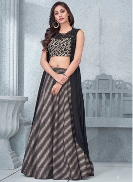 Embroidered Work Lycra Black and Grey Designer A Line Lehenga Choli