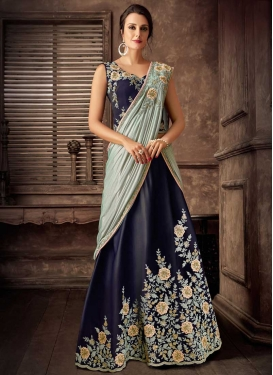Embroidered Work Lycra Lehenga Style Saree