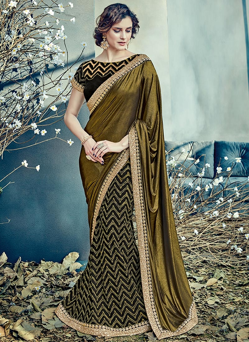 Embroidered Work Lycra Lehenga Style Saree For Ceremonial