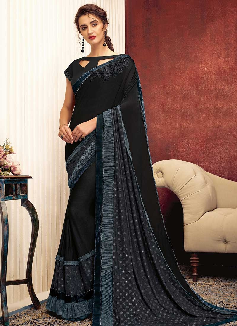 Embroidered Work Lycra Traditional Saree
