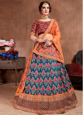 Embroidered Work Malbari Silk A - Line Lehenga
