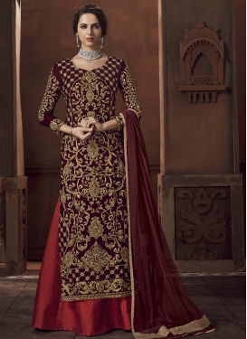 Embroidered Work Maroon and Red Kameez Style Lehenga
