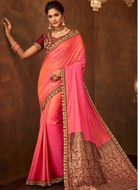 Embroidered Work Maroon and Rose Pink Trendy Classic Saree
