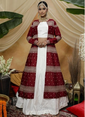 Embroidered Work Maroon and White Silk Georgette Jacket Style Lehenga Choli