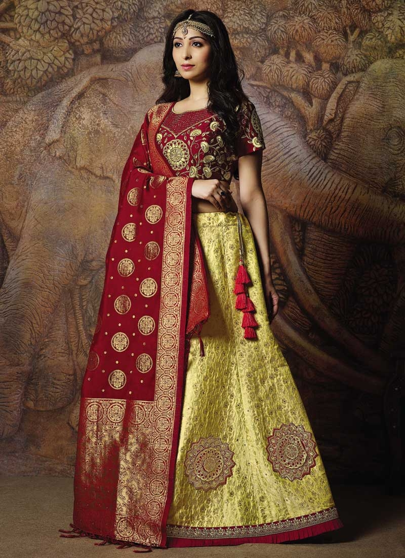 Embroidered Work Maroon and Yellow Trendy Lehenga Choli