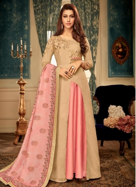 Embroidered Work Maslin Beige and Salmon Readymade Floor Length Gown
