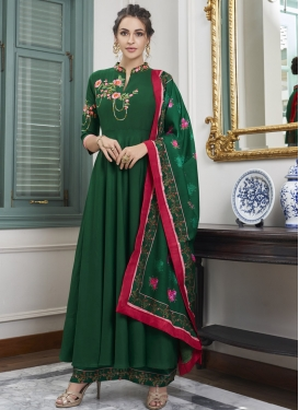 Embroidered Work Maslin Palazzo Designer Salwar Suit