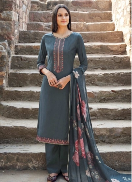 Embroidered Work Maslin Palazzo Style Pakistani Salwar Suit
