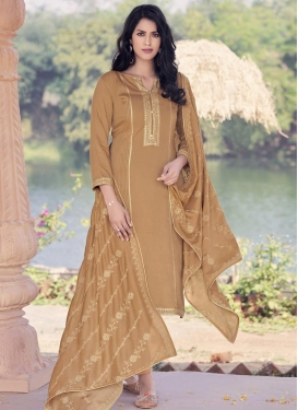 Embroidered Work Maslin Pant Style Pakistani Salwar Suit
