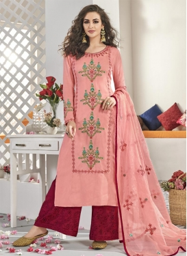 Embroidered Work Maslin Red and Salmon Readymade Designer Salwar Suit