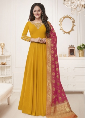 Embroidered Work Maslin Silk Floor Length Salwar Kameez