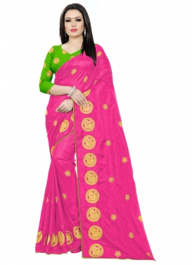 Embroidered Work Mint Green and Rose Pink Contemporary Saree