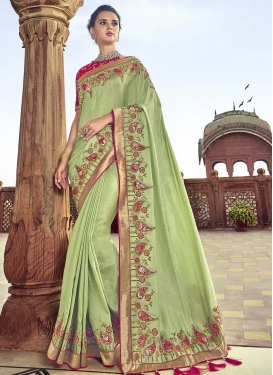 Embroidered Work Mint Green and Rose Pink Designer Contemporary Saree