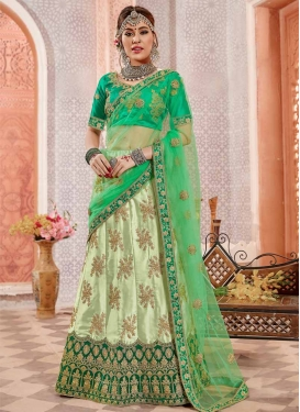 Embroidered Work Mint Green and Sea Green Satin Silk Trendy A Line Lehenga Choli