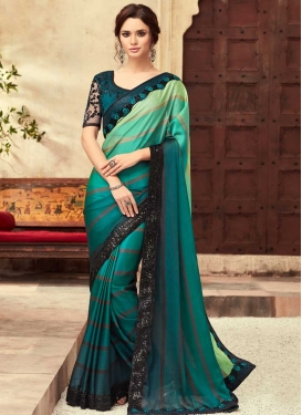 Embroidered Work Mint Green and Teal Trendy Classic Saree