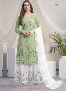 Embroidered Work Mint Green and White Palazzo Style Pakistani Salwar Kameez