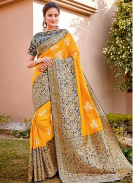 Embroidered Work Mustard and Navy Blue Designer Traditional Saree
