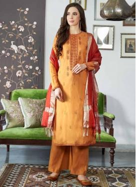 Embroidered Work Mustard and Orange Palazzo Style Pakistani Salwar Suit