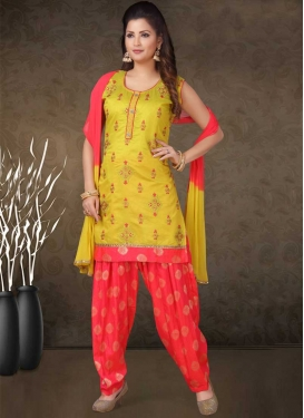 Embroidered Work Mustard and Rose Pink Readymade Salwar Kameez