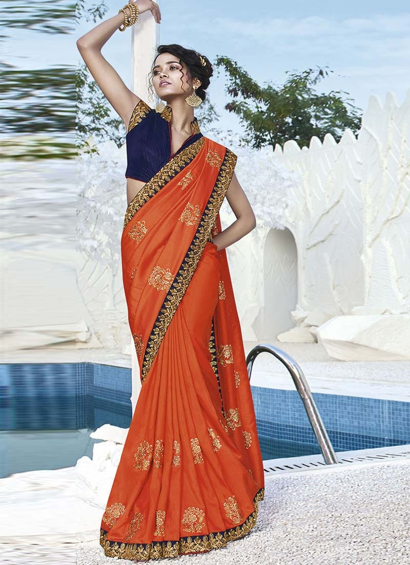 Embroidered Work Navy Blue and Orange Traditional Designer Saree