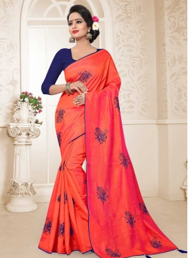 Embroidered Work Navy Blue and Orange Traditional Saree