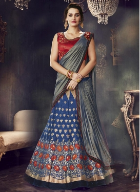 Embroidered Work Navy Blue and Red A Line Lehenga Choli