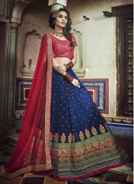 Embroidered Work Navy Blue and Rose Pink Lehenga Choli