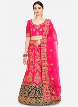 Embroidered Work Navy Blue and Rose Pink Satin Silk Trendy Lehenga