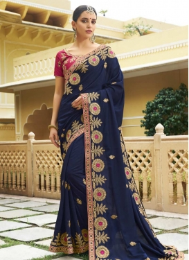 Embroidered Work Navy Blue and Rose Pink Traditional Designer Saree