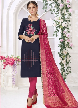Embroidered Work Navy Blue and Rose Pink Trendy Churidar Salwar Suit