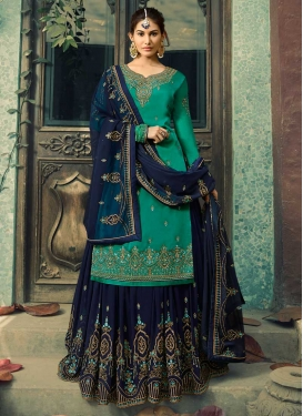 Embroidered Work Navy Blue and Sea Green Designer Kameez Style Lehenga Choli