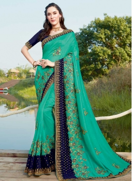 Embroidered Work Navy Blue and Sea Green Designer Traditional Saree