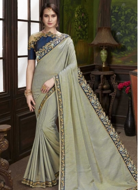 Embroidered Work Navy Blue and Silver Color Designer Traditional Saree