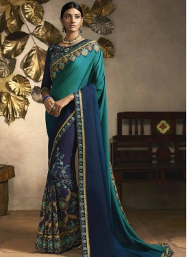 Embroidered Work Navy Blue and Teal Traditional Saree