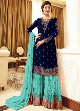 Embroidered Work Navy Blue and Turquoise Sharara Salwar Kameez