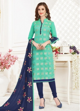 Embroidered Work Navy Blue and Turquoise Trendy Churidar Salwar Suit