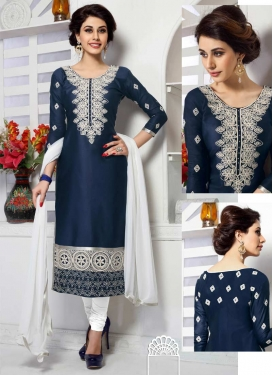 Embroidered Work Navy Blue and White Cotton Trendy Straight Suit